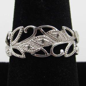 Size 9 Sterling Silver Elegant Floral Diamond Band